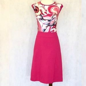 Layfayette Silk Printed Pink Dress Fit Flare Sz 6